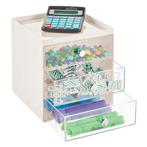 mDesign Organizador de escritorio con 3 cajones – Cajonera pequeña para bolígrafos, clips, notas, etc. – Compacto gavetero de plástico para mesa de oficina – crema y transparente