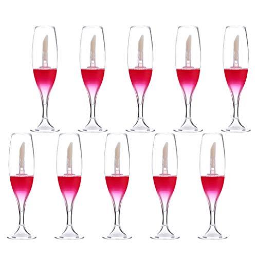 FRCOLOR 20 Unidades de Botellas de Brillo de Labios Vacías Botellas de Brillo de Labios de Vidrio de Vino Envases Cosméticos Recargables Tubos de Brillo de Labios para Mujeres (Rojo)