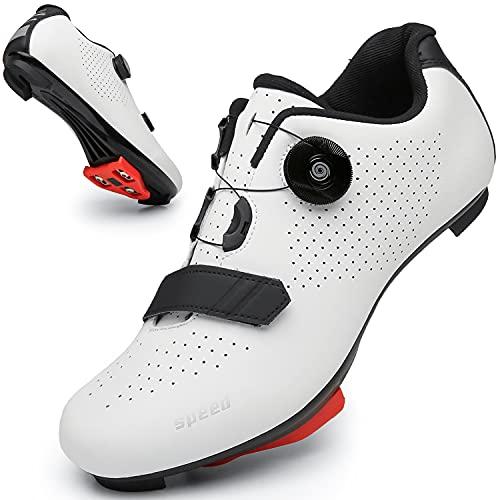 Fahrradschuhe für Herren Damen Leuchtend Rennrad Reitschuhe Peloton Schuhe Atmungsaktiv Cleat Kompatibel SPD Look Delta Indoor Fahrradschuhe, Weiß216, 39 EU