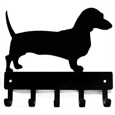 The Metal Peddler Dachshund Key Rack/Dog Leash Hanger with 5 hooks Large 9 inch wide