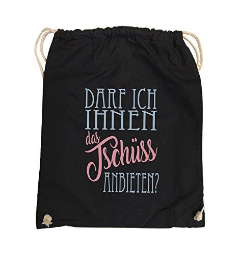 Comedy Bags - Darf ich Ihnen das Tschüss anbieten? - Turnbeutel - 37x46cm - Farbe: Schwarz/Eisblau-Rosa