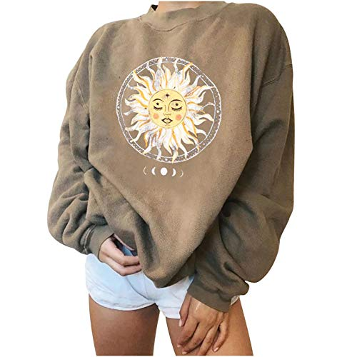 Sanahy Womens Vintage Sun and Moon Printed Sweatshirts Long Sleeve Crewneck Casual Tops Lightweight Oversized Sweatshirt Ladies Blouse Loose Fit Basic Tunic Tee Top(Khaki,XL)
