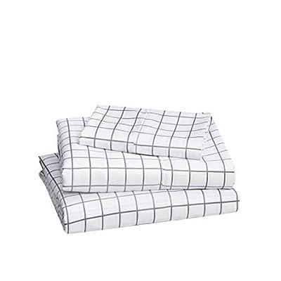"AmazonBasics Lightweight Super Soft Easy Care Microfiber Bed Sheet Set with 16"" Deep Pockets - Twin XL, Blue Grey Windowpane"