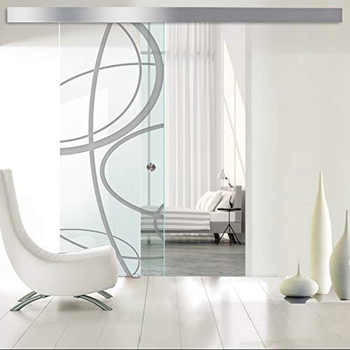 Modern Glass Art - Porta scorrevole in vetro temperato di sicurezza per interni Boss - Nuvola spessore 8 mm, rivestimento nano in acciaio inox SS304, 95 x 215 cm, grigio scuro