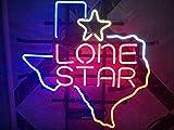 QUEEN SENSE 17'x14' Texas Lone Star Neon Sign (VariousSizes) Beer Bar Pub Man Cave Handmade Glass Lamp Light DB376