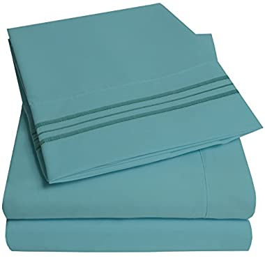 1500 Supreme Collection Extra Soft Queen Sheets Set, Misty Blue - Luxury Bed Sheets Set With Deep Pocket Wrinkle Free Hypoallergenic Bedding, Over 40 Colors, Queen Size, Misty Blue