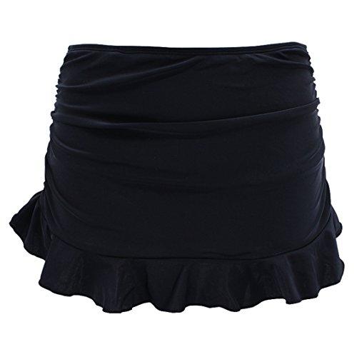 SHEKINI Damen Badebekleidung Badeanzug Rock gebaut in Bikini Bottom Baderock Schwimmrock Bikini mit Hotpants(Schwarz D,L)