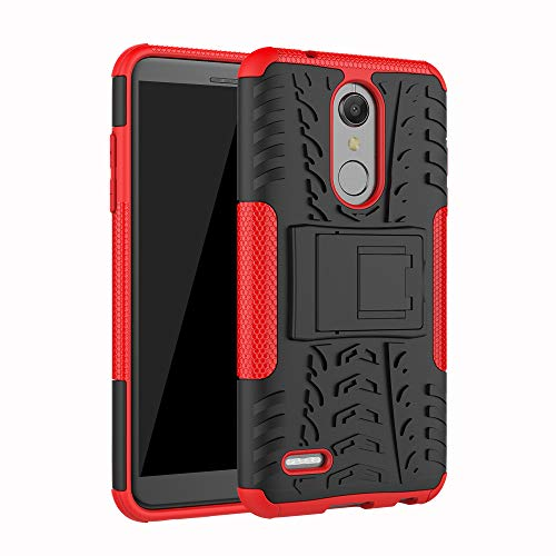 JZ Tire Pattern Funda For para LG K10 2018 / K30 / K11 / K10+ with [Kickstand] Shockproof Scratch-Resistant Back Cover - Red