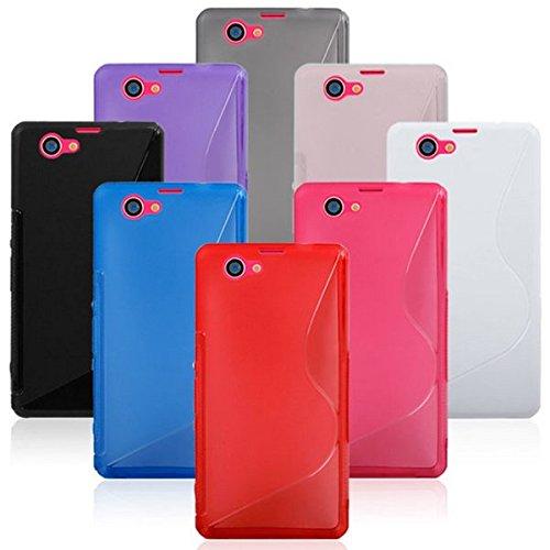NAUC Schutz Hülle für Smartphone Handy Silikon Tasche Case Cover SLine Bag Etui Kappe, Farben:Blau, Handy Modelle für:Sony Xperia Z1 Compact