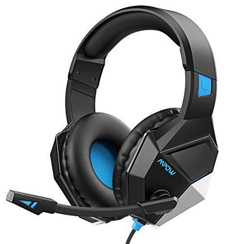 [New Edition] Mpow EG10 Gaming Headset with 3D Surround Sound, PC PS4 Headset with Crystal Clear Mic, 50mm Speaker Drivers, Volume & Mute Control Universal Gaming Headphones for Xbox One(Black)