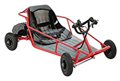 Compact kids dune buggy with powerful 350-watt electric motor. Reaches speeds of up to 9 mph. Assembled Dimensions: 41 inch x 26.5 inch x 17.5 inch 8-inch knobby pneumatic tires. Hand throttle and brake controls. Supports up to 120 pounds driver weig...