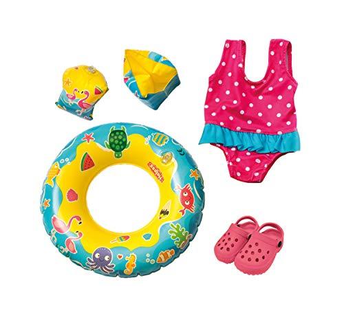 Heless 88 - Schwimmset für Puppen, Badeanzug, Clogs, Schwimmring und -flügel mit lustigen Bade-und Wassermotiven, Puppengröße ca. 35 - 45 cm, für Badespaß an heißen Sommertagen