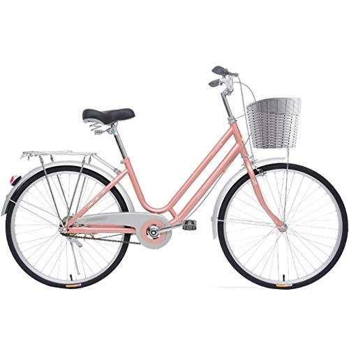 Bicicleta para Mujer de 24 Pulgadas Bicicletas de montaña para Mujer de Acero con Alto Contenido de Carbono Pintura Unisex Bicicleta de cercanías con Asientos Grandes y cómodos