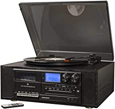 Crosley Ridgemont 3-Speed Turntable with Bluetooth, AM/FM Radio, CD Player, Cassette Deck, and Aux-in