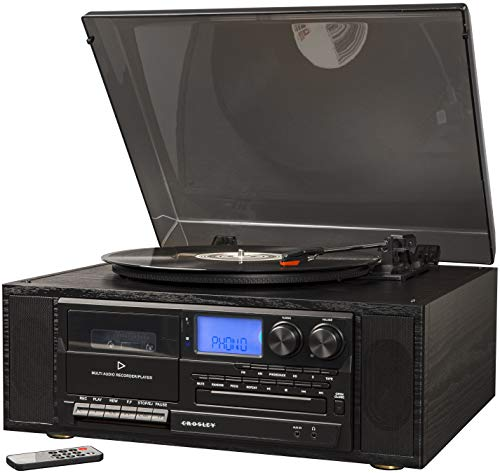Crosley Ridgemont 3-Speed Turntable with Bluetooth, AM/FM Radio, CD/Cassette Players, USB, SD Card Reader, and Aux-in, CR7010A-BK, CR7010A-BK, CR7010A-BK, CR7010A-BK