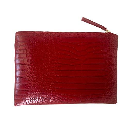 NIGEDU Women Clutches Crocodile Grain PU Leather Envelope Clutch Bag (Red)
