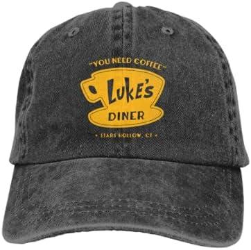 Dewigeso Unisex Lu-kes Diner Adjustable Retro Washed Cowboy Baseball Cap Sports Cap