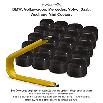 ColorLugs Vinyl BoltCap Cover | Flexible Fit Bolt Lug Nut Cap | ½ Inch deep | Includes Deluxe Extractor | Available in a Variety of Colors | Made in The USA  Black 17 mm 25-Pack