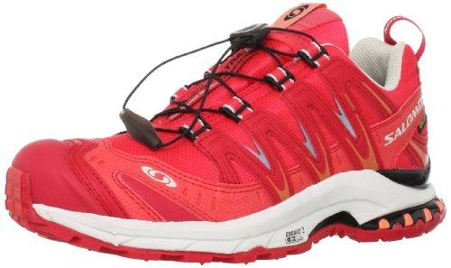 SALOMON XA Pro 3D Chaussures de Course pour Femme - Rouge - Papaya B Dynamic Gris Clair, 38 EU