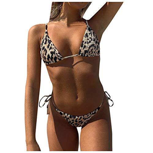 Las Mujeres de Dos Piezas Halter Tie Side Vendaje Bikini Set Push Up Animal & Floral Print Traje de baño de...
