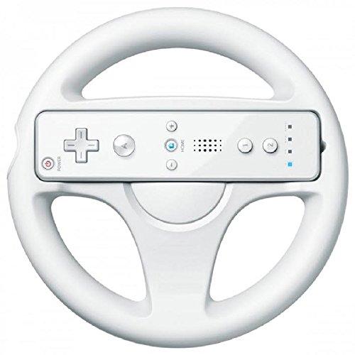 mejores Volantes para Wii REY Volante para Wii Presentado en Caja, Color Blanco, Compatible con el Juego de Mario Kart