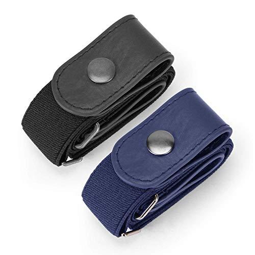 JasGood 2 Pack Schnallenfrei Elastischer Gürtel für Damen oder Herren, Ohne Schnalle Keine Ausbuchtung Unsichtbare Gürtel, Schwarz/Blau, Hosengrößen 80cm-120cm