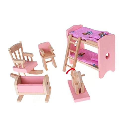 EElabper Miniature Wooden Furniture Set Include Bunk Bed Chair Cradle Kid Children Gift Doll House Mini Furniture Toy