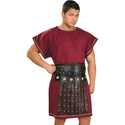 Burgundy Tunic Mens Fancy Dress Roman Greek Medieval Book Day Adults Costume New