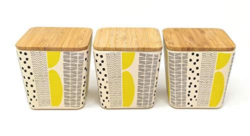 Kucly Botes para Alimentos con Tapas herméticas de bambú, Eco-Friendly para café, té, azúcar Ø 8 cm x 8 cm (Amarillo)