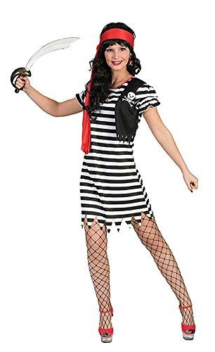 Karnevalsbud - Gestreiftes Südsee Piratin Kostüm für Damen, M, Mehrfarbig