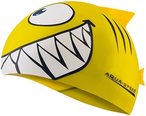 Aqua Speed Set Schwimmmütze Kinder Mädchen & Jungen | Fisch Badekappe | Kinderbadekappe | Schwimmkappe lustig | Schwimmhaube wasserdicht | Badehaube | Hai | Silikon | gelb 18 | Shark