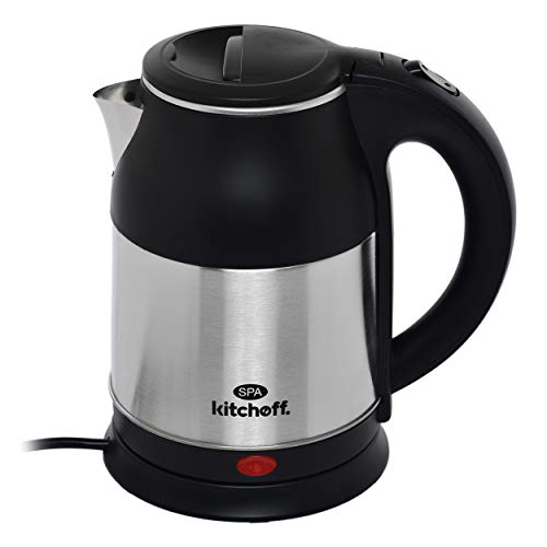 Kitchoff SPA Automatic Stainless Steel Electric Kettle Heavy Body Extra Large Cattle With Handle (1.8 L, Black and Silver)