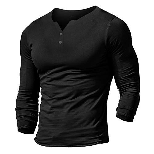 Muscle Alive Uomo Henleys Casual Manica Lunga Maglietta Singolo Pulsante abbottonatura Plain v Neck Camicie in Cotone Nero M