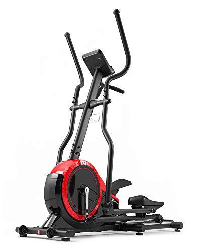 Hop-Sport Ellipsentrainer HS-070C - Ellipsen Crosstrainer für Zuhause mit Pulsmessung und 18kg Schwungmasse, max. Benutzergewicht 150kg rot