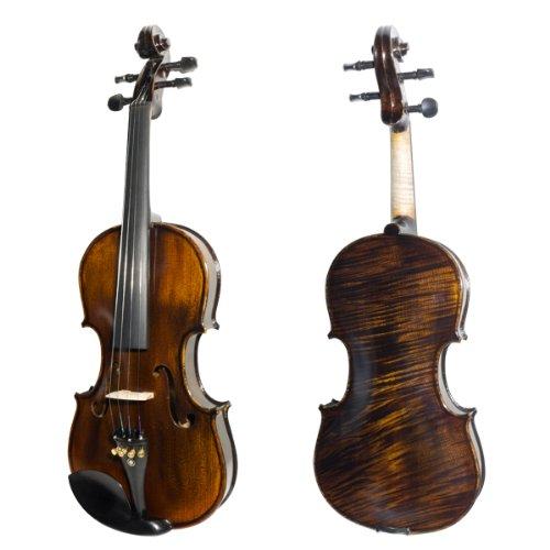 Mendini MV650 Ebony Fitted 1-Piece Maple Back Violin (4/4 Full Size)