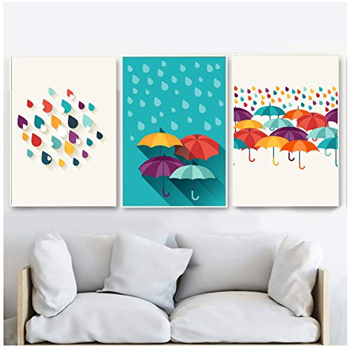 xiongda Bunte Regentropfen Regenschirm Wandkunst Leinwand Malerei nordische Poster und Drucke Wandbilder für Wohnzimmer Kinderzimmer Home Decor-20X28 Zoll 3Pcs No Frame