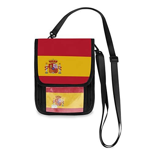 Bandera de España RFID Bloqueo Pequeñas Crossbody Bolsas de Teléfono Celular Cartera con Ranuras para Tarjetas de Crédito