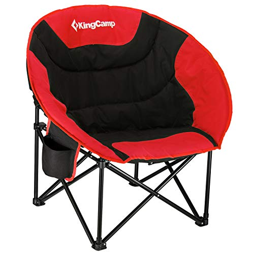 KingCamp Camping Folding Moon Chair with Cup Holder and Back Pocket Support Up to 120 KG