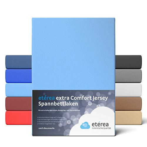 etérea Extra Jersey Spannbettlaken 240x220 cm - Spannbetttuch für Boxspringbetten, Wasserbetten und Normale Matratzen, aus 100{9408b756198962c1f5620131b77377aba38a5132d169f7a848782fb1fa52127c} Baumwolle und ca. 35 cm Steghöhe, Hellblau