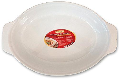 Guardini Ceramica, plat ovale grand 36 x 24 cm, céramique, couleur blanche