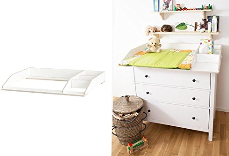 Wickelaufsatz mit Fach für Ikea Hemnes Kommode extra stabiles Holz (keine Spanplatte) Wand- u. Kommodenbefestigung runde Ecken Kippschutz Wickelauflagen Breite 77 (passgenau) und 80 cm