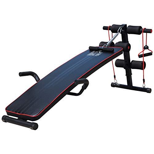 HOMCOM Banco de Abdominales Altura Ajustable Banco de Musculación Multifuncional para Fitness Entrenamiento de Espalda Abdominal Piernas Carga 120kg con 2 Cuerdas y 1 Tirador de Resorte