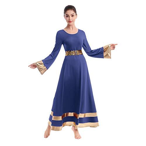 Praise Dance Dresses for Women Gold Metallic Liturgical Dancewear for Women Worship Dresses for Women Dance Lyrical Dresses Chruch Robe with Sequins Shiny Elastic Belt Waistband Navy Blue Medium