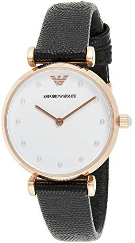 Emporio Armani Damen Analog Quarz Uhr mit Leder Armband AR11270