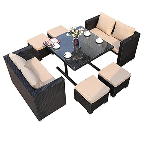 Conjunto de sofás Conjunto De Muebles para Exteriores De Villa, Sofá De Ratán De Cáñamo Suave Y Cómodo, Sofá De Patio para Piscina Y Jardín(Size:Style 3)