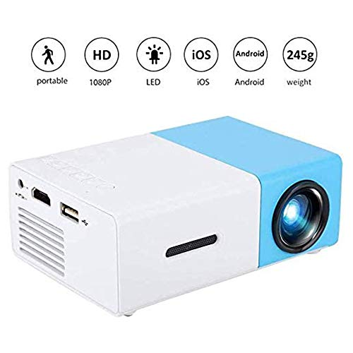 SANJIANG Proyector Mini Proyector Multifuncional De Video HD 1080P A Todo Color con Altavoces para Home Cinema Theater Video Movies Children Present Party Game,Blue