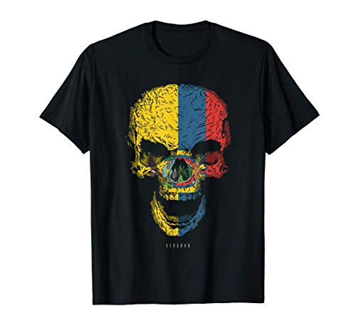 Camiseta Calavera con Bandera de Ecuador Cráneo Camiseta