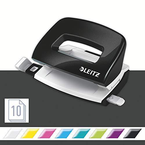 Leitz NeXXt WOW Mini-Locher, 10 Blatt, Metall, Anschlagschiene mit Formatangaben, schwarz, WOW, 50601095