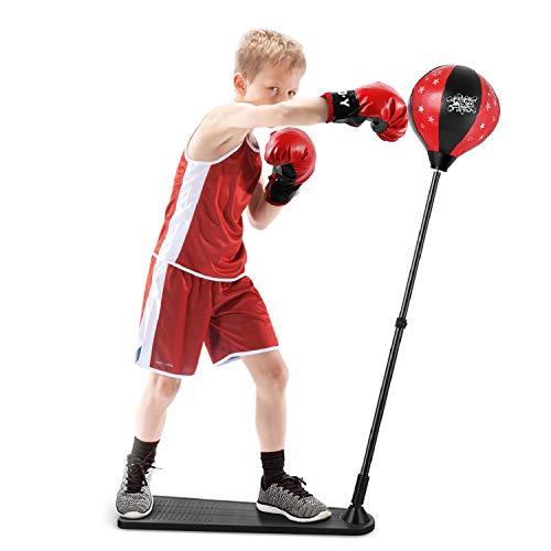Flexzion Kinder Jugend Boxhandschuhe Boxsack Speedball aufblasbar Junior Mitss Training Grappling Sparring Kampf Kickboxen Muay Thai Ausrüstung, schwarz/red