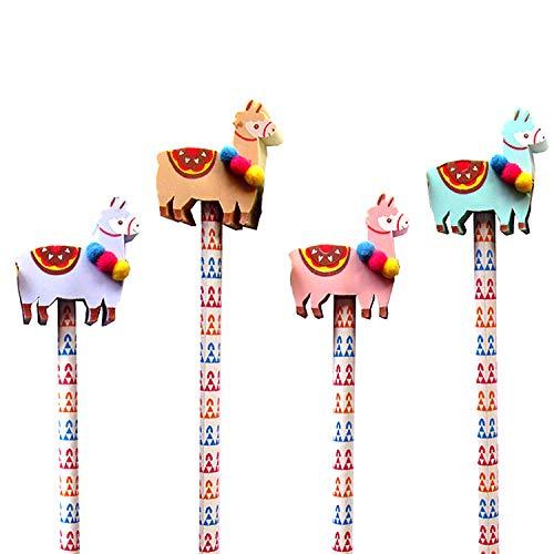 Neu: 4 Bleistifte * LAMA * mit Radiergummi für Schule und Kindergarten | Stift Zeichnen Schreiben Kind spuckend Tier Zoo Anden